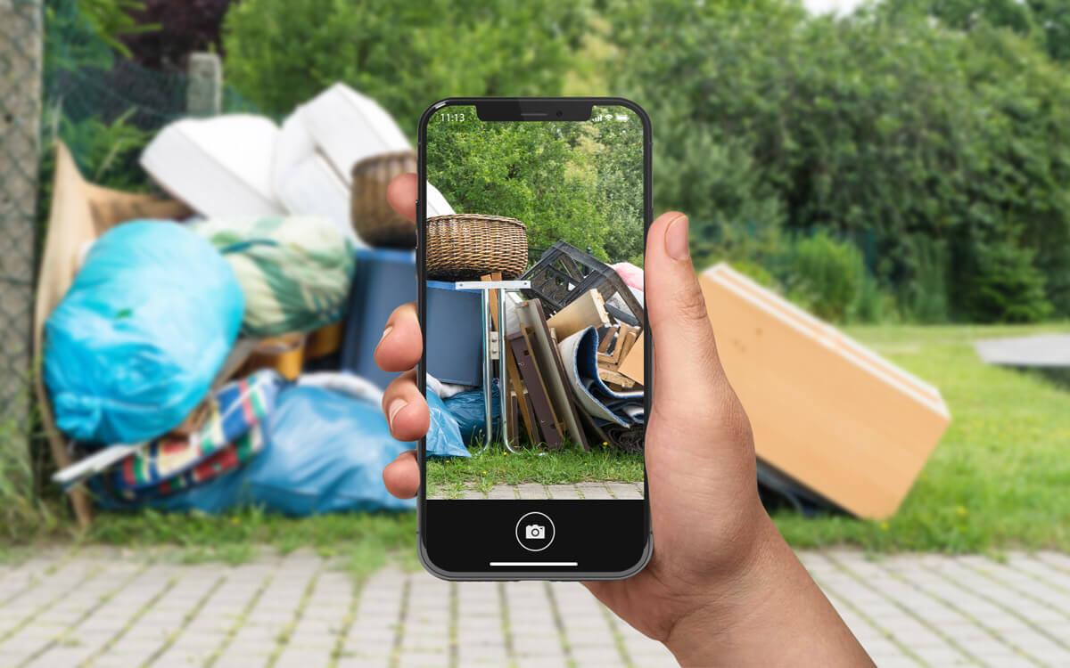 Abfall mit dem Smartphone fotografieren